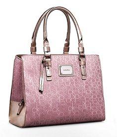 Calvin Klein Logo Jacquard Center Zip Carryall Hobo Handbag (Champagne/Champaigne)