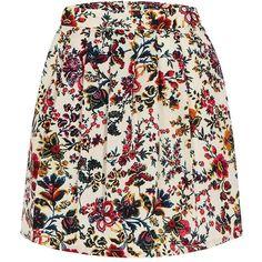 Yoins High Waisted Petite Pattern Flowers Skater Skirt (£12) ❤ liked on Polyvore featuring skirts, bottoms, yoins, faldas, black, print skater skirt, skater skirt, flared skirt, patterned skirts and flower print skirt