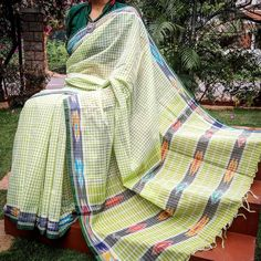 Elegant Handloom Andhra Soft Cotton Saree in lovely colors with woven checks and Ikkat weave in the palla and borders Blouse piece is NOT included Saree Length Silk Dupatta, Handloom Saree, Sari Silk, Ethnic Fashion, Womens Fashion, Cotton Saree, Indian Wear, Plaid Scarf, Sarees