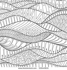 Vector hand drawn stripe monochrome patterned background, outline ornamental illustration in ethnic zentangle style for adult coloring pages. Abstract decoration doodle element