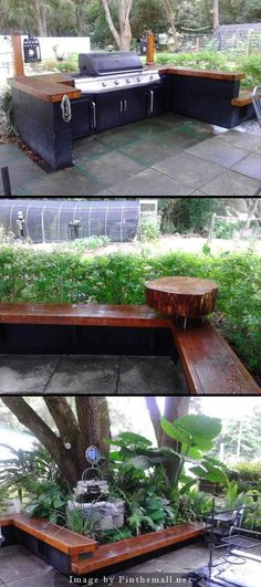 """Backyard patio/seating on a shoe string. Concrete Blocks, 12""""w x 12'L x 2"""" lumber, gal of black paint, stain, plus sealer and an old grill. - a grouped images picture - Pin Them All"""