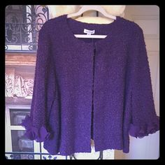 """Brand New Joan Rivers Purple Sweater Brand New without tags but with extra button/clasp. Beautiful partial nubby wool sweater with chiffon cuffs! B 25"""" armpit to armpit  23"""" shoulder to hem Joan  Rivers  Sweaters"""