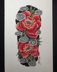 Background and waves done. Asian Flowers, Oriental Flowers, Japanese Flowers, Japanese Art, Japanese Peony Tattoo, Japanese Tattoo Designs, Tattoo Designs Men, Full Hand Tattoo, Full Arm Tattoos