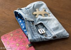 Täschchen aus alter Jeans / Pouch made from old pair of jeans / Upcycling