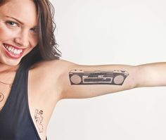 BOOMBOX (set of 2 temporary tattoos) - What made the bass go BOOM 20 years before everyone decided that hooking expensive headphones up to their Iphones was the cool thing to do? Get it while it's THUMPING.