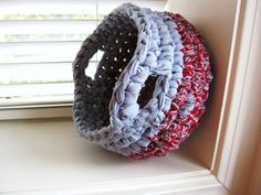 Crocheted Rag Basket Red Blue White by RoseJasmine on Etsy, $19.00