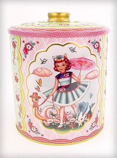 Cotton Candy Tin Canister ... love the pink colors