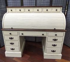 Shabby Cottage Chic Ethan Allen Solid Pine Roll-TopDesk - Hand Painted in Antique White / Distressed / Sealed with a Non-Toxic Varnish - Top: 3 Drawers / Bottom:5 Drawers & 2 File Drawers
