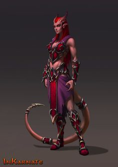 Xannaris, the red fist, female demon, devklin, red demon, mage demon, sorcerer, wizard, https://www.artstation.com/artwork/B2ERA