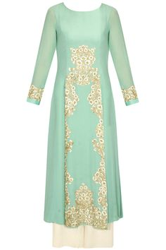 Meadow green embroidered pleated kurta with off white palazzos by Aneesh Agarwaal. Shop now: http://www.perniaspopupshop.com/designers/aneesh-agarwaal #shopnow #perniaspopupshop #aneeshagarwaal