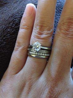 Stacked diamond wedding bands