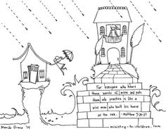 Wise Man Built His House Upon the Rock (Matthew Coloring Page Coloring Sheets, Coloring Pages, Bible Illustrations, Wise Men, The Rock, Sunday School, Inspiration, Words, Children