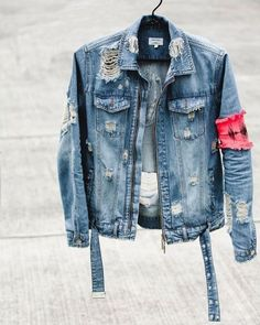 c269df914cee STREETWEAR. Distressed Denim Jacket MensMen ...