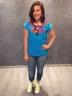 Mexican blouse top embroidered colourful traditional muslin cinco de mayo day of… Mexican Top, Mexican Blouse, Mexican Party, Mexican Style, Sugar Skull, Traditional, Trending Outfits, Handmade Gifts, Color