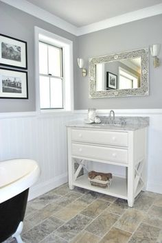 Eye-Opening Useful Ideas: Wainscoting Bathroom Farmhouse wainscoting interior bedrooms.Wainscoting Corners Small Spaces traditional wainscoting how to build. Downstairs Bathroom, Bathroom Renos, Bathroom Ideas, Attic Bathroom, Bathroom Designs, Bathroom Furniture, Wooden Furniture, Grey Bathrooms, Beautiful Bathrooms