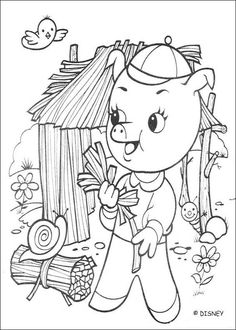 Discover this amazing coloring page of three little pigs  movie. Here Fifer building his Straw House. A drawing for all Disney movies lover.