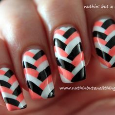 How to create fishtail nail art via @Guidecentral - Visit www.guidecentr.al for more #DIY #tutorials
