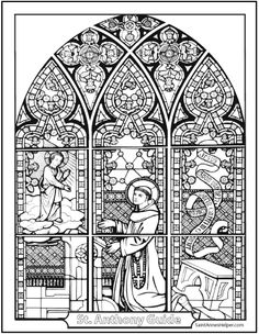 Beautiful Saint Anthony Coloring Page! It shows the Child Jesus visiting Anthony as he prays.