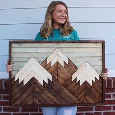 Mountain Wood ArtChristmas GiftsModern Wood ArtWood Wall Wooden Wall Art, Wood Wall, Unique Home Decor, Home Decor Items, Small Wood Projects, Art Projects, Diy Holz, Wood Creations, Popular Woodworking