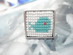 Whale ring, Miyuki delica whale silver ring, Mint whale square ring, Ocean inspired, Mermaid jewelry, Nautical, Mother's day, Friend gift. Mermaid Jewelry, Square Rings, Gifts For Friends, Turquoise Bracelet, Whale, Nautical, Silver Rings, Beaded Bracelets, Mint