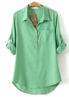 Green Lapel Long Sleeve Pocket Dipped Hem Blouse US$25.11