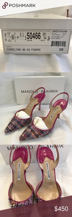 "Manolo Blahnik ""Carolyne"" fabric sling-back pump Manolo Blahnik Carolyne sling-back pump. Pink w/ woven fabric. Very beautiful and classy look. These shoes have been well taken care of. They come in the original box with a dust bag. Manolo Blahnik Shoes Heels"