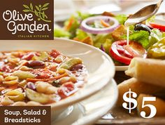Grab this coupon good for Unlimited Soup, Salad and Breadsticks this week at Olive Garden for just $5! Have a wonderful lunch!  http://Frugalincleveland.com