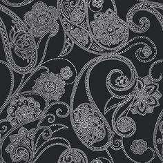 Candice Olson's dotted paisley.... black and grey.  I found this on www.burkedecor.com