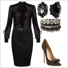 CHATA'S DAILY TIP: When wearing black from head to toe choose your accessories carefully. Stunning accessories, including a beautiful thin waist-belt and divine spotted heels, turn this ensemble into a runway look! Don't wear black near your face if you have dark circles under your eyes : ) COPY CREDIT: Chata Romano Image Consultant, Leandra Roelofsz http://chataromano.com/consultant/leandra-roelofsz/ IMAGE CREDIT: Pinterest