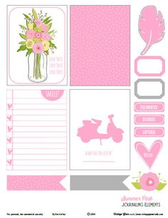 Free Summer Pink Journaling Cards and Labels from Vintage Glam Studio