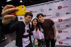 """When I met Dan and Phil, Dan was trying to take a picture and """"accidentally """" took about 10 selfies of horribly funny faces .<<<that's beautiful"""