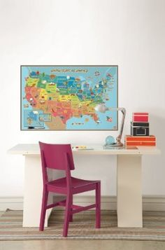 Wall Pops Kids World Dry Erase Map Wall Decal W X H In More - Us wall map for kids