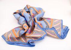 Handpainted blue and orange silk neck handkerchief от LekaArt, $89.00