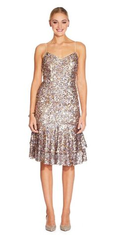 6cb01d88 Elegant and undeniably chic this; Multi Sequin Flounce Cocktail Dress by Adrianna  Papell.