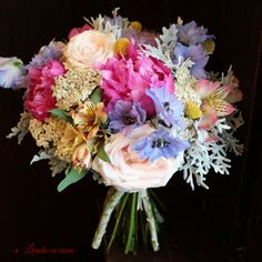 26 Ideas For Wedding Bouquets Blue Yellow Floral Design Purple Wedding Bouquets, Blue Wedding Flowers, Flower Bouquet Wedding, Wedding Dress, Diy Wedding Decorations, Wedding Centerpieces, Floating Candles Wedding, Wedding Bands For Her, Wedding Arch Rustic