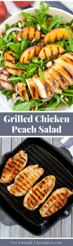 A delicious and healthy summery salad with grilled chicken and grilled peaches on a bed of arugula and fresh herbs, with a honey-Dijon dressing. Naturally #glutenfree #paleo #whole30 Recipe on NotEnoughCinnamon.com