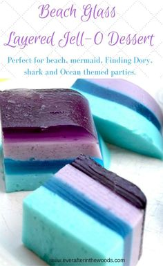 Sea Glass Layered Jell-O Bars – Ever After in the Woods beach ocean mermaid shark birthday party baby shower Little Mermaid Birthday, Little Mermaid Parties, The Little Mermaid, Jello Desserts, Jello Recipes, Jello Salads, Jello Cake, Recipies, Baking Desserts