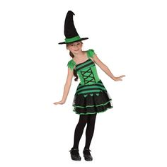 Childrens Girls Green & Black Large Size Witch Halloween Fancy Dress Costume