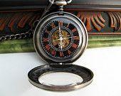 Personalized Black Mechanical Pocket Watch, $57.00, via Etsy.