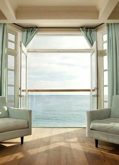 beachy decor Beautiful Beach House with an amazing view of the Ocean! Love the ocean blue upholstery & drapery! Home Living, Coastal Living, Coastal Decor, Coastal Bedrooms, Coastal Style, Living Room, Cottages By The Sea, Beach Cottages, Luxury Interior Design