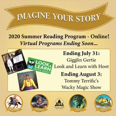 SUMMER READING PROGRAM UPDATE: We have three virtual programs ending soon - don't miss them! Gigglin Gertie and Look & Learn with Hoot end July 31, and Tommy Terrific ends August 3. Watch at jhlibrary.readsquared.com or jhlibrary.com/2020srpevents. #SRP2020 #ImagineYourStory