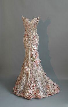 "Sophie DeFrancesca ~ ""Pink Paradise"" (2014) Mixed media, wire mesh *dress sculpture* 61 x 40 x 36 in. | via Galerie de Bellefeuille"