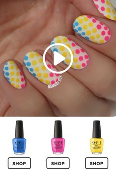 How to Get a Neon Polkadots Manicure French Bulldog Nail Art Tutorial Easy Blue Gradient Nail Tutorial Cute Disney Nail Manicure Tutorial How to Get a Too … Nail Manicure, Diy Nails, Cute Nails, Pretty Nails, Nail Polish, Nail Art Hacks, Nail Art Diy, Nagel Hacks, Nail Design Video