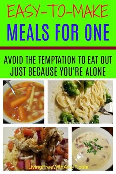 Eating alone doesn't mean you have to spend money eating out. Here are budget-friendly and easy-to-make meals for one person. Simple recipes, quick dinners, cheap, simple - you can't go wrong! Easy One Person Meals, Easy Dinners For One, Healthy Meals For One, Quick Easy Dinner, Quick Easy Meals, Meal For One Person, Recipes For One Person, Tasty Meals, Dinner For One