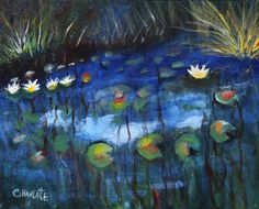 "Water lilies 6 by Marino Chanlatte | $100 | 10""w x 8""h 