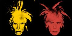 Andy Warhol, Self Portrait (Fright Wig) (1986), and Sandro Miller's version with John Malkovich.