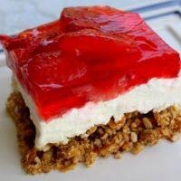strawberry jello cheesecake with pretzel crust!