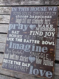 In this house wehand painted family rules sign by LodgeChic, $75.00