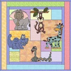 Jungle Babies Applique Quilt PDF Pattern by by madcreekdesigns, $12.00