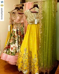 #Repost @azafashions with @repostapp ・・・ Lemony yellows and rosy pinks are all part of our whimsical dream. #newcollections #anushreereddy #lehengas #wedding #engagement #style #trend #azadesigners...